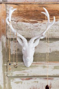 White Resin Deer Head Wall Decor $48.00