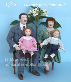 """Custom dolls, porcelain, scale 1/12 """"family style 20's"""" by Maria Narbon https://www.etsy.com/shop/marianarbon"""