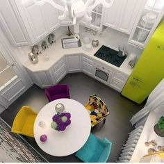 best small kitchen design ideas for your tiny space 13 Apartment Kitchen, Kitchen Interior, New Kitchen, Kitchen Decor, Kitchen Counters, Kitchen Cabinets, Kitchen White, Countertop, Apartment Ideas