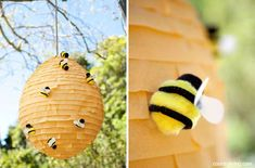The Hunger Games: Party Pinata. paper Mache a balloon and wrap with streamer and make bee with pom poms and pipecleaners Hunger Games Party, Summer Crafts, Crafts For Kids, Diy Crafts, Holiday Crafts, Day Countdown, Craft Activities, Winnie The Pooh, Balloons
