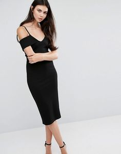 ASOS Tall | ASOS TALL Strappy Bodycon Dress with Off Shoulder Sleeve