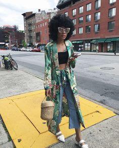 Floral Zara Robe, Reformation basket bag, cropped denim, white mules, NYC street style