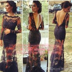 Wholesale 2014 Prom Dresses - Buy 2014 Long Sleeves With Exquisite Beads Lace Decorated Prom Dresses Sexy Sheer Crew Neckline Backless Lace Black Evening Gowns BO3423, $139.0 | DHgate