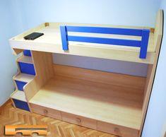 Litera con escalera lateral Niños | Barcelona | Anna Litera a medida con escalera lateral con cajones divisible. La cama inferior puede separarse de la estructura en un futuro, para Habitación Infantil Niños a medida. Realizado en Melamina de color combinado con lacado satinado azul. Barandilla superior Lacada. Más información en: http://www.fusteriamanel.com/index.php?option=com_content&view=article&id=390&Itemid=724