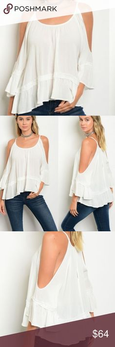 Flirty & Girly white Boho Peasant Blouse! 100 % Rayon. Flirty & Sexy Design Boho, Peasant Blouse! Unique design with open shoulder & bell sleeve Tiered Top. Will arrive in a few days and sizes are limited this is a one time order item and cannot restock! Trend Setter Diva Tops Blouses
