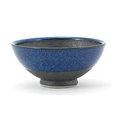 Japanese Porcelain Blue Black Matte Chawan Rice Bowl Yokohama Gifts