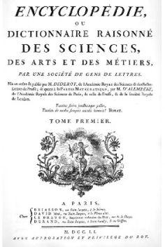 """""""Wielka encyklopedia francuska"""" powstała w latach 1751-1780 we Francji. To wielotomowe dzieło zawierało wiadomości z różnych dziedzin nauki, sztuki i rzemiosła. Tworzyli ją filozofowie i pisarze oświeceniowi, m.in.: Denis Diderot, Jean Jacques Rousseau oraz Voltaire."""