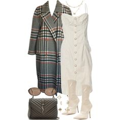 A great white tight-fitted midi dress and a plaid coat along with the very end very happy white boots which have very high heels. And the purse a great look . Polyvore Outfits, Komplette Outfits, Stylish Outfits, Fashion Outfits, Womens Fashion, Polyvore Fashion, Look Fashion, Autumn Fashion, Outfit Goals