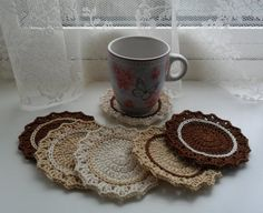 U pick colors  Set of 6 Crochet Coasters  3.7 or by CrochetMansion