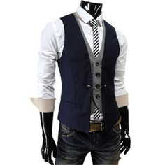 Mens premium Business Casual Layered style Slim Vest NAVY $33.99