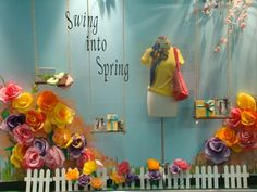 Anthropologie window display. Great for a very bright and colorful child's party backdrop