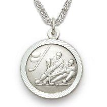 "Sterling Silver Boy's Ice Hockey Medal, St Christopher on Back Sports Jewelry Boys Sports Patron Saint St Medal Catholic with St Christopher on Back w/Chain 20"" Length"