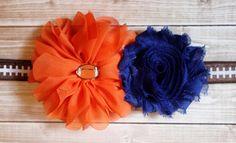 Orange and blue football baby headband by AshlynsAccessoryCo