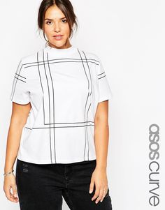 ASOS CURVE High Neck Tunic T-Shirt in Grid Print