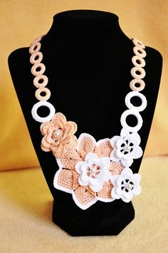 Crochet Necklace with Flowers- Knitted Jewelry- Peach and White with Beads