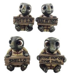 Sea Turtle Set of Four Small Figurine Holding Signs With Sayings Tortoise