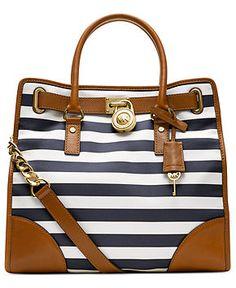 MICHAEL Michael Kors Handbag, Hamilton Large Stripe North South Tote - Handbags & Accessories - Macy's love it so nautical