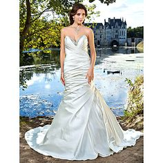 Trumpet/Mermaid Sweetheart Strapless Satin Wedding Dress – USD $ 473.99