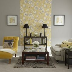 30 Awesome Yellow Living Room Color Schemes That People Never Seen - Barthram News Grey And Yellow Living Room, Grey Room, Living Room Wallpaper Yellow, My Living Room, Living Room Furniture, Living Room Decor, Dining Room, Tiny Living, Modern Living