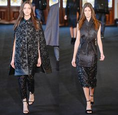 Ellus 2014 Winter Womens Runway Collection - São Paulo Fashion Week Brazil - Inverno 2014 Mulheres Desfiles - Cape Cloak Hanging Sleeve Flowers Floral Embroidery Embellishment Fringes Peek-A-Boo Mesh Lace Furry Outerwear Coats Multi-Panel Vest Pinafore Dress Jumpsuit