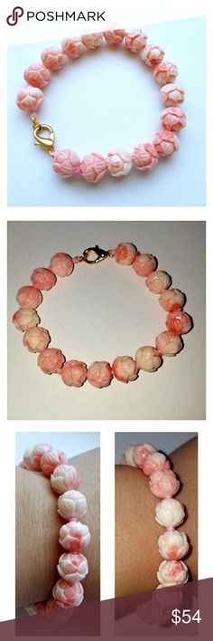 """Natural coral pink conch shell flower bracelet Beautiful natural carved lotus flower conch shell bead bracelet that looks very close to angel skin coral beads.  it has gold tone lobster claw clasp. total length is about 7.25"""" and the bead size is 10mm New, unused item. Listed under anthropologie for exposure only.   PRICE FIRM. Anthropologie Jewelry Bracelets"""