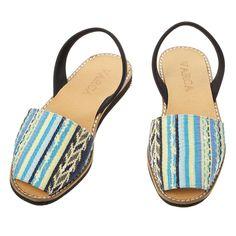Gorgeous Blue Astec Fabric Sandals from Varca #sandals #menorca #summer