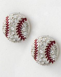 Crustaceans Designs Jewelry (Earrings) - Crystal Baseball Studds, $21.00 (http://www.crustaceansdesigns.com/crystal-baseball-studds/)