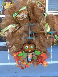 Fall wreath with owl