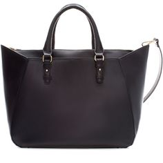 Zara Shopper Bag With Strap (650 EGP) ❤ liked on Polyvore featuring bags, handbags, tote bags, zara, accessories, black, shopper purse, pu handbags, zara purses and zara handbags