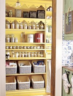 Pantry ideas, love the baskets