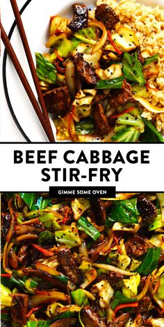 Sesame Beef and Cabbage Stir-Fry recipe is loaded up with lots of tender steak and veggies, tossed in a yummy sesame ginger sauce, and perfect for easy weeknight dinners or healthy meal prep! Serve over rice, noodles, quinoa -- you name it. Cabbage And Beef, Cabbage Stir Fry, Meals With Cabbage, Stir Fried Cabbage Recipes, Healthy Meal Prep, Healthy Dinner Recipes, Healthy Dinners, Heart Healthy Dinner, Eating Healthy