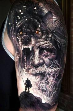 Awesome black and grey realistic tattoo style of Odin motive done by tattoo artist Arlo DiCristina Wolf Tattoos, 3d Tattoos, Badass Tattoos, Body Art Tattoos, Portrait Tattoos, Amazing Tattoos, Arlo Tattoo, Thor Tattoo, Norse Tattoo