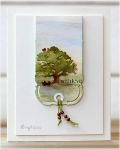 Here´s my card for the challenge on CAS(E) this Sketch´s blog this week! I used watercolors for the two dies from Penny Black BookmarkTrio of treesand the sentiment from the usefulSnippets Thanks!