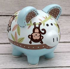 Monkey Jungle Personalized Piggy bank in Blue, Brown and Green Personalized Piggy Bank, Personalized Gifts, Paint Monkey, The Little Couple, Polymer Clay Halloween, Cute Piggies, Money Box, Pottery Painting, Custom Items