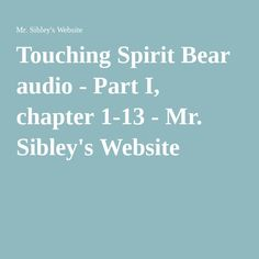 touching spirit bear chapter questions Touching spirit bear chapter questions chapter 1 1 what is the meaning of the japanese proverb, fall seven times, stand up eight 2 what does cole do that leads to his most recent arrest.