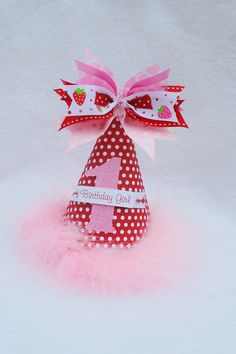 Strawberry Birthday Party Hat in Red, Pink and White Polka Dot. $13.50, via Etsy.