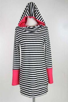 Black n White Wild Pink Striped Hoodie Tunic - Lele B's Boutique #comfy #onlineboutique #winterwardrobe #fashionaddict #boutique #givemethattop