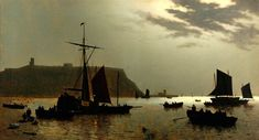 Scarborough, Castle Hill and Harbour by Moonlight Henri Philippe Neumans Scarborough Art Gallery Scarborough England, Scarborough Castle, Hepworth Wakefield, Country Scenes, Weird Pictures, Art Uk, North Yorkshire, Moonlight, Find Image