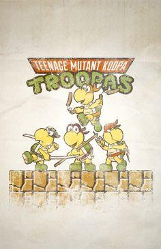 Love this mash-up... Teenage Mutant Koopa Troopas #retrogaming #gaming #gamer #nintendo #mario #ninjaturtles #mashup #humor #funny #16bit #8bit #8bitevolution