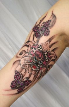 Butterfly And Flower Tattoos | Flower Girly Skulls Butterfly by *2Face-Tattoo on deviantART