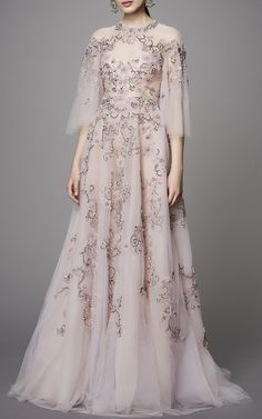 Flutter Sleeve Embroidered Gown by MARCHESA for Preorder on Moda Operandi
