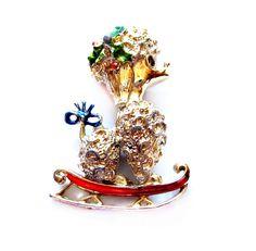 Vintage Christmas Brooch, Enamel Poodle Dog Pin