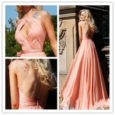 A Line Court Train Scoop Chiffon Beading Sequins Prom Dresses