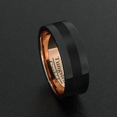 Tungsten Wedding Bands 8mm Mens Ring Black Polished and Brushed Inlay Flat Edge Rose Gold Inner Comfort Fit