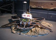 The Mars Pathfinder Lander and rover Sojourner were launched on December 4, 1996. Arriving at Mars July 4, 1997, it was the first spacecraft to land on the surface of the Red Planet since the Viking mission in 1976. The spacecraft operated for 90 days / Full-scale engineering prototype Lander and full-scale model of Sojourner on display at Udvar-Hazy Center in Chantilly, VA.