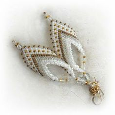 Bead Leaf Earrings in White and Gold : Russian Leaf White Gold Earrings : Royal White Elegance by FrancescasFancy for $30.00