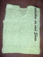Trabalhos da vovó Sônia: Colete infantil verde-água - crochê