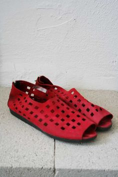 Red Suede Arche Sandal by weltenbuerger on Etsy, $78.00