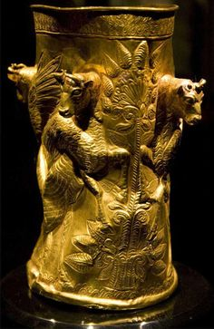 More than 2500 years old gold drinking cup.Pre-Achaemenid Persian found in the Gilan province,north of Iran.
