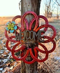 Horseshoe welcome wreath by Ironnlace1 on Etsy